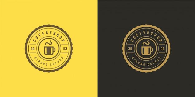 Plantilla de logotipo de tienda de café o té con silueta de frijol bueno