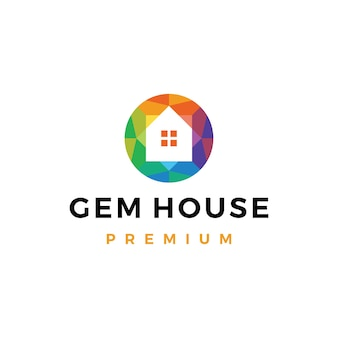 Plantilla de logotipo de tienda de joyería de la casa de gemas