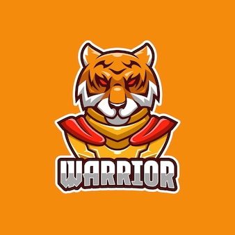 Plantilla de logotipo de tiger warrior e-sport