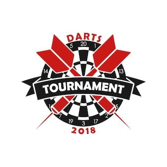 Plantilla de logotipo de torneo de dardos para emblema de campeonato deportivo con diana de dardos y cinta