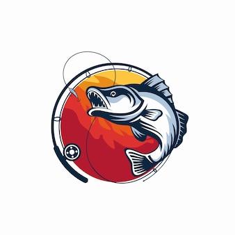 Plantilla de logotipo de torneo de pesca aislado