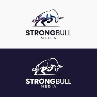 Plantilla de logotipo de toro fuerte moderno