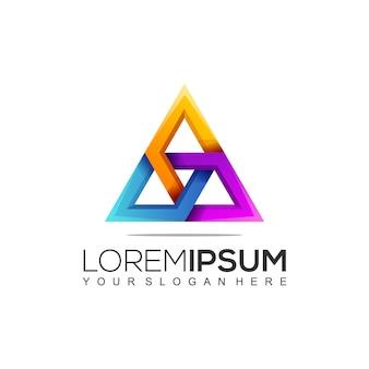 Plantilla de logotipo de triángulo de construcción moderna