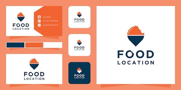 Plantilla de logotipo de ubicación de alimentos y tarjeta de visita