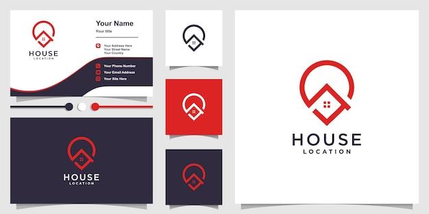Plantilla de logotipo de ubicación de casa con concepto creativo moderno vector premium