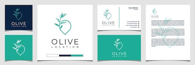 Plantilla de logotipo de ubicación de oliva con arte de estilo de línea. tarjeta de visita con logo y membrete