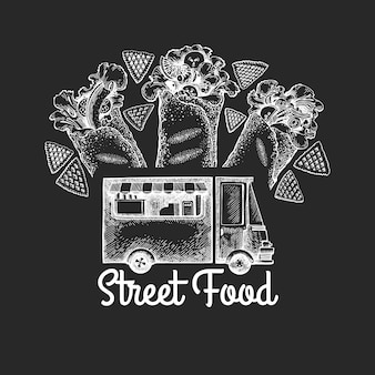 Plantilla de logotipo de van de comida callejera. grabado estilo burrito camión diseño retro.