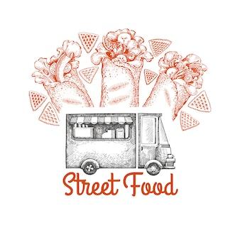 Plantilla de logotipo de van de comida callejera.