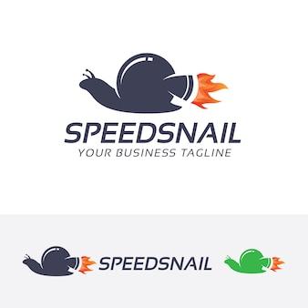 Plantilla de logotipo de vector de caracol de velocidad