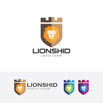 Plantilla de logotipo de vector de león castillo y escudo