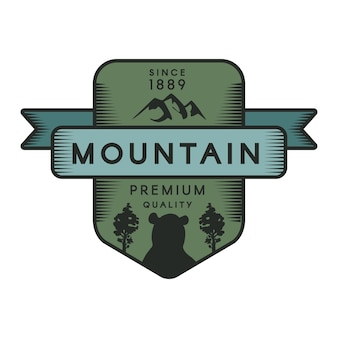 Plantilla de logotipo de vector de montaña. símbolo del parque recreativo. animal salvaje, silueta de oso grizzly
