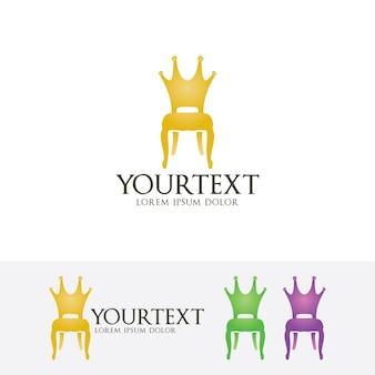 Plantilla de logotipo de vector de muebles de silla real