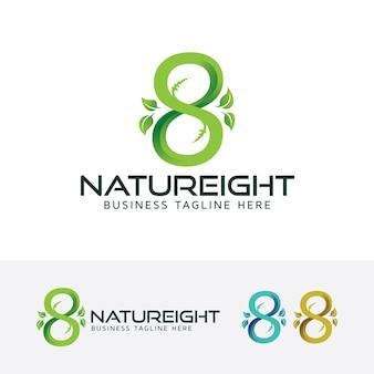 Plantilla de logotipo de vector de naturaleza ocho infinito