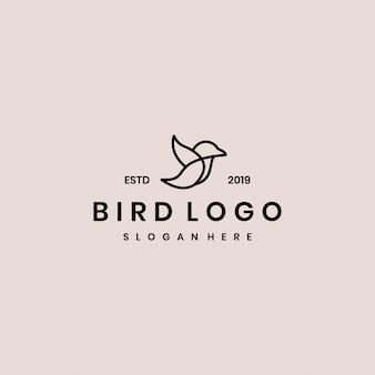 Plantilla de logotipo de vector de pájaro minimalista