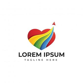 Plantilla de logotipo de viaje de amor