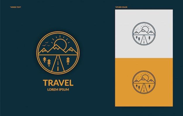 Plantilla de logotipo de viaje de arte de línea plana