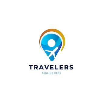 Plantilla de logotipo de viaje detallada