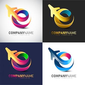 Plantilla de logotipo de viajes 3d para la compañía de viajes y aerolíneas