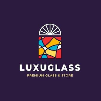 Plantilla de logotipo de vidrio de diseño plano