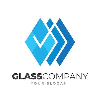 Plantilla de logotipo de vidrio plano