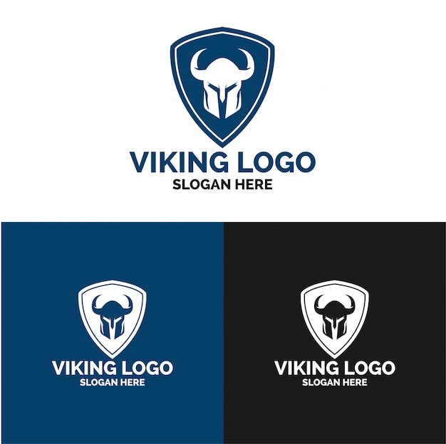 Plantilla de logotipo viking shield security