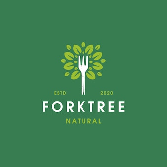Plantilla de logotipo vintage de árbol de horquilla