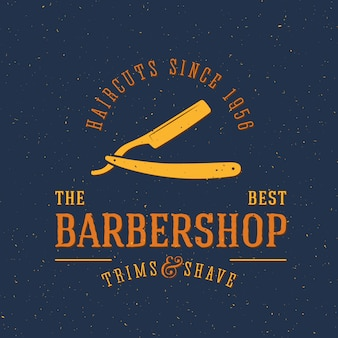 Plantilla de logotipo vintage de barbería con tipografía retro y texturas destartaladas de grunge
