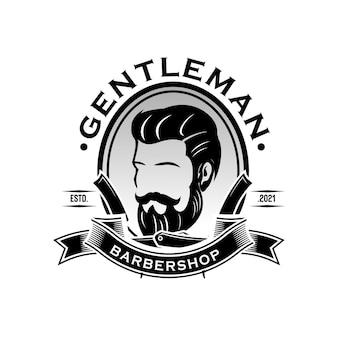Plantilla de logotipo vintage de barbería