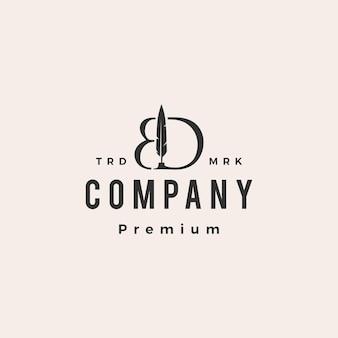 Plantilla de logotipo vintage de bd letra marca pluma pluma tinta hipster