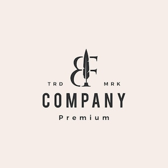 Plantilla de logotipo vintage bf letra marca pluma pluma hipster