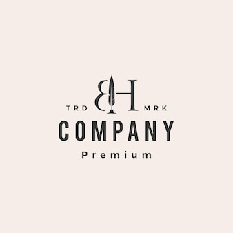 Plantilla de logotipo vintage bh letra marca pluma pluma hipster