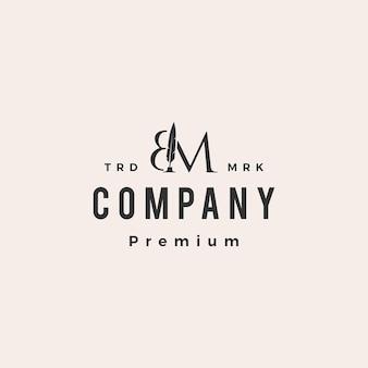 Plantilla de logotipo vintage de bm letter mark feather pen hipster