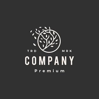 Plantilla de logotipo vintage de círculo redondo rama de árbol hoja hipster