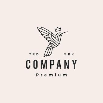 Plantilla de logotipo vintage de colibrí rey monoline hipster