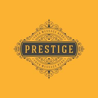 Plantilla de logotipo vintage elegante florece adornos ilustración.