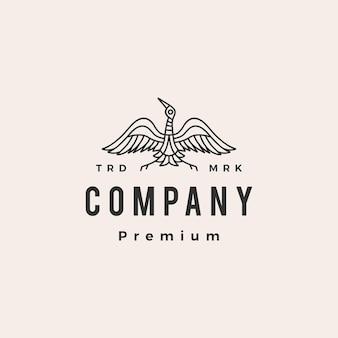 Plantilla de logotipo vintage de grúa pájaro monoline hipster