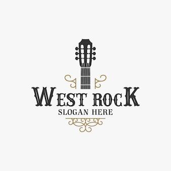 Plantilla de logotipo vintage de guitarra