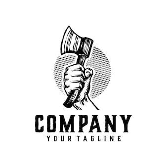 Plantilla de logotipo vintage de hacha