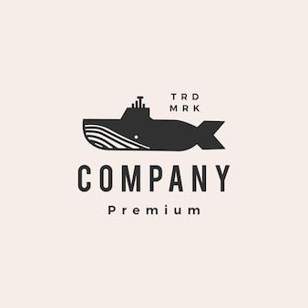 Plantilla de logotipo vintage de hipster de ballena submarina
