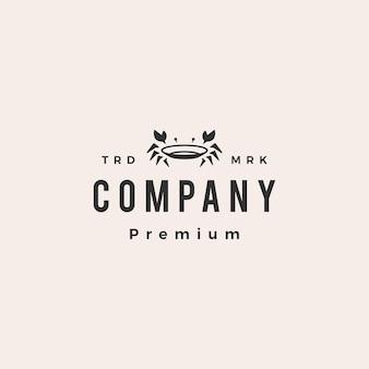Plantilla de logotipo vintage de hipster de comida de mar de restaurante de plato de cangrejo