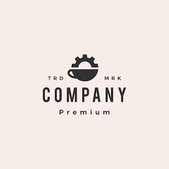 Plantilla de logotipo vintage de hipster de ingeniero mecánico de engranajes de café