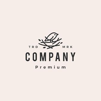 Plantilla de logotipo vintage de hipster de nido de pájaro