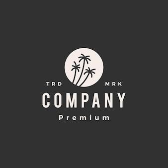 Plantilla de logotipo vintage de hipster de palma de círculo redondo de árbol de coco
