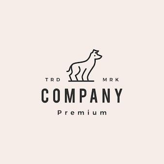 Plantilla de logotipo vintage de hipster de perro galgo