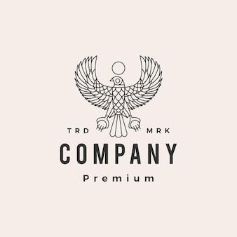 Plantilla de logotipo vintage de horus halcón pájaro egipto hipster