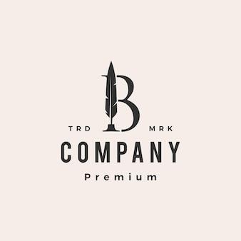 Plantilla de logotipo vintage de letra b marca pluma pluma tinta hipster