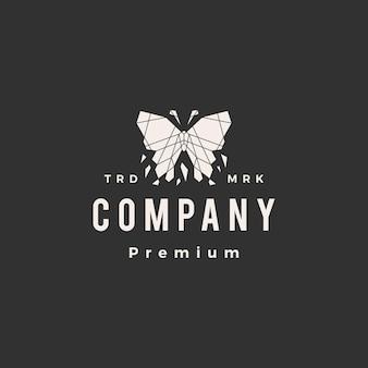 Plantilla de logotipo vintage mariposa geométrica hipster
