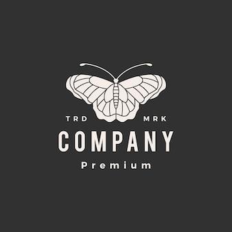 Plantilla de logotipo vintage mariposa hipster