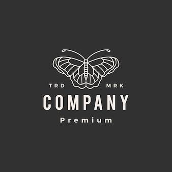 Plantilla de logotipo vintage de mariposa monoline contorno hipster