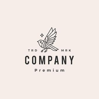 Plantilla de logotipo vintage pájaro estrella monoline hipster
